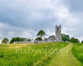 Hill of Slane Photo, Co. Meath IRELAND, Green fields, Old IRISH Castle, Stone Abbey, Celtic Decor, Ancient Cemetery, Medieval High Tower
