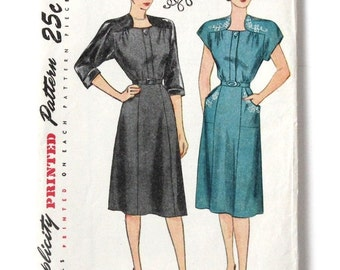 Vintage 1940's One-Piece Dress Simplicity 1797 Bust 40 Hip 43 Unused