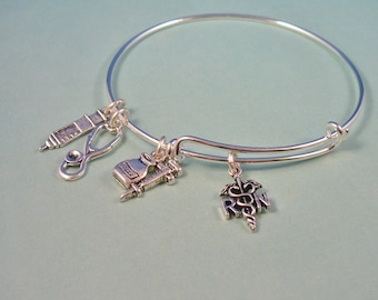 RN, BSN, NP, or LPn Caduceus Style, Stainless Hearts,Designer Inspired, Charm Bangle, Medicine Bottle and Syringe,Stethoscope,Gift For Her
