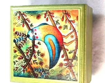 Small Jewelry Box, Bird Art, Robin Redbreast Wood Trinket Keepsake Box, Blue Green, Gift for Child Girl Friend Sister