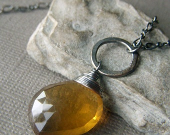 Honey Whiskey Quartz Necklace Oxidized Sterling Silver, Beer Quartz Gemstone, Natural Stone Jewelry, Minimalist Wirewrapped Pendant,