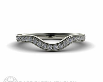 14K Diamond Wedding Band Contoured Wedding Ring Diamond Ring 14K White Yellow Rose Gold