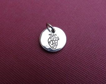 Heart Charm - Anatomical Heart Charm - Small Heart Pendant - Charm Only