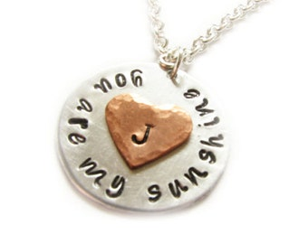 Sunshine Heart Necklace, You are my sunshine necklace, Hand Stamped Initial Pendant, gift wedding Birthday sterling silver copper