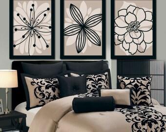 Beige Black Wall Art, Bedroom Canvas Or Prints Bathroom Decor, Bedroom  Pictures, Flower