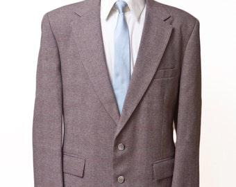 Men's Blazer / Vintage Brown Plaid Jacket / Vintage Size 44 Large