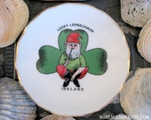 Lucky Leprechaun IRELAND Small Vintage Plate, Candy Dish, Tiny Bedside Catchall Tray, Cute Old Irish Souvenir, Gift for Dad, Pipe Rest