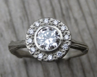 Diamond Halo Twig Engagement Ring: White, Yellow, or Rose Gold; Canadian Diamond Halo; VS1/G, GIA Center Diamond