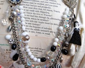 Lilygrace Black and White Night Circus Statement Necklace with a Vintage Brooch, Vintage Crystals and Vintage Rhinestones