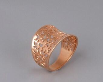 Rose Gold  Lace Ring, Rose Gold Ring, Filigree Ring, Statement Ring, Victorian Ring, Boho Chic Ring, Ethnic Ring Gold, Silver, Tribal Ring