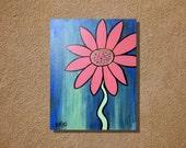 Acrylic Painting Pink Flower on Blue Original 11 x 14