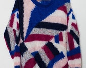 1980's Abstract Mohair Patch Sweater Medium/ Large