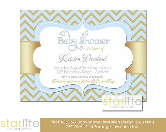 blue gold baby shower invitation blue and gold chevron baby shower