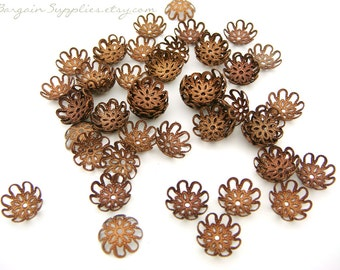 150 antique copper filigree bead caps, beads and findings destash sale, jewelry supplies, copper findings, metal bead caps, flower bead caps