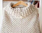 Instant download - Crochet PATTERN (pdf file) - Poncho with oversized collar (sizes baby to child)