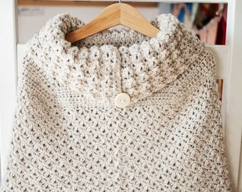 Crochet PATTERN  - Poncho with oversized collar (sizes baby to child)