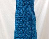1980s Blue Geo Print Dress // Import Cotton // Batik