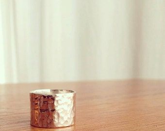 Wide Hammered Sterling Silver Ring, Unisex, Free Customization Available, Cigar Band, Wide Textured Ring