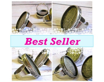 10 Oval Sterling Silver plated Ring Blank settings for 18x25mm cab with adjustable wide band , oxidized ring bezel base , Free Shipping