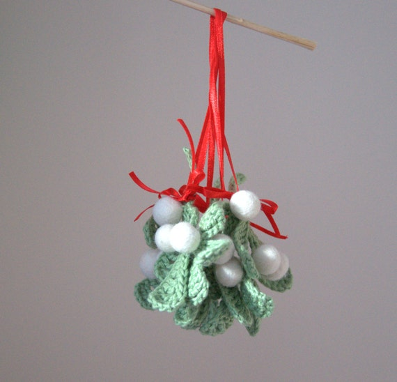 Items similar to Mistletoe ornament Holiday traditional Christmas ...