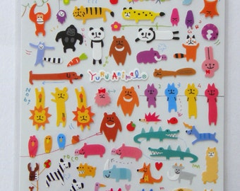 Cute Animal Stickers From Japan - Monkey, Koala Bear, Bird, Bee, Caterpillar, Butterfly, Ape, Gorilla, Panda, Tiger, Leopard, Lion, Pig etc