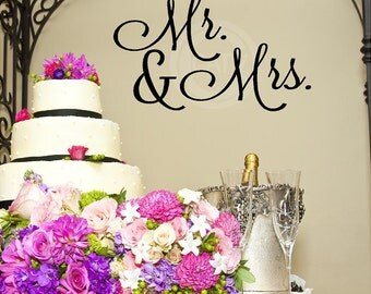 Mr. & Mrs. vinyl lettering quote wall saying decal sticker art wedding reception decor