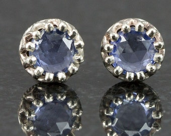 White Gold Sapphire Stud Earrings - Rose Cut Sapphire Studs - 1ctw - Ready to Ship