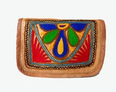Small Leather Satchel with Yarn Accent | OM BABA | 2 Pocket | travel, burning man, festivals, purse