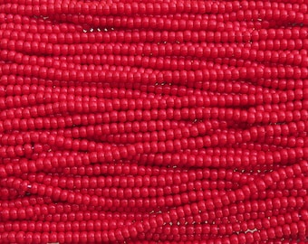 6/0 Opaque Light Red Czech Glass Seed Bead Strand (CW124)