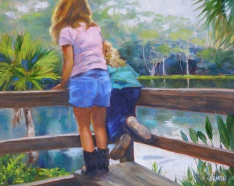 Little Hikers, 8x10 Original Oil Painting, Children at Silver Springs, Florida