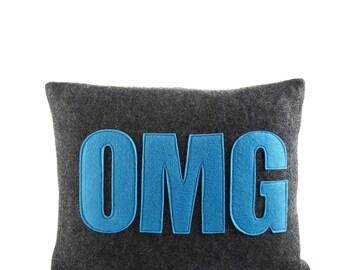 "Throw Pillow, Decorative Pillow, ""OMG"" pillow, 10X14 inch"