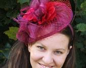 Kentucky Derby Red Fascinator wine fascinator hat burgundy wedding hat WINES AND SMILES