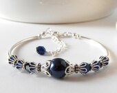 Navy Bridesmaid Bracelet, Pearl Wedding Jewelry, Beaded Jewelry Sets Gift for Bridesmaid, Gift for Wife, Gift for Sister