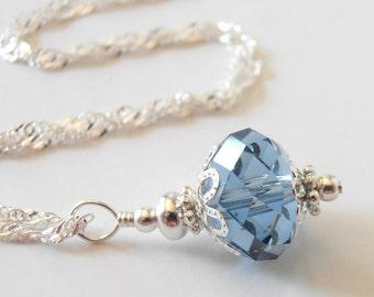 Denim Blue Crystal Necklace, Swarovski Crystallized Elements, Blue Jay Bridesmaid Jewelry, Medium Blue Wedding Jewelry Sets, Bridesmaid Gift