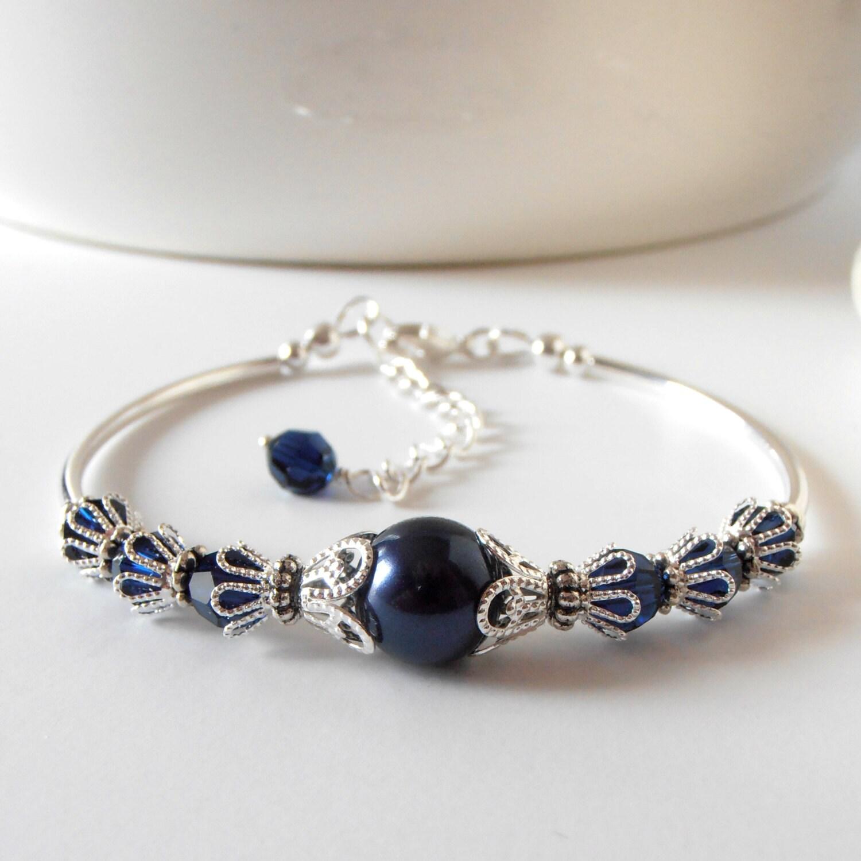 Navy Bridesmaid Bracelet Pearl Wedding Jewelry Beaded