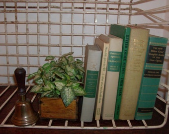 Instant Collection of 6 Neutral and Green Vintage and Antique Books