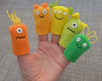 Monster Finger Puppets, in Green, Yellow, & Orange Neutrals (5-pack)