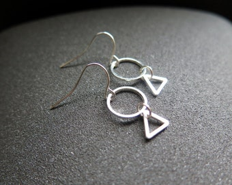 small silver dangle earings. triangle geometric jewelry. made in Canada