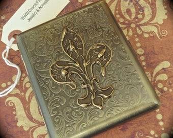 Metal Cigarette Case Vintage Inspired Style Fleur De Lis Brass Metal Wallet Gothic Victorian Steampunk Case Holds Cigarettes Size 100's