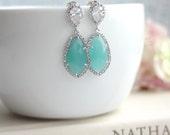 LUX Rhodium Plated Cubic Zirconia Mint Opal Green Teardrop Earrings. 925 Ear Post. Bridal Jewelry. Wedding Earrings. Mint Wedding. Wife
