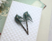 Two Verdigris Green, Teal Blue Green Flying Bird Swallows, Sparrows Hair Pin, Rustic Woodland, Bridesmaids Gifts,