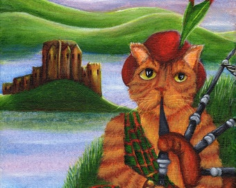 Orange Cat Playing Bagpipes, Scotsman Tabby Cat in Kilt, 5x7 Fine Art Print