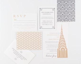 Wedding Invitation, Art Deco New York Wedding Invitation Collection