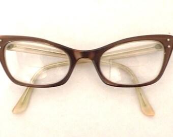 SALE Vintage Cat Eye Glasses Frame / Layered Luminous Brown / Shuron / Mad Men Era USA Sunglasses on sale