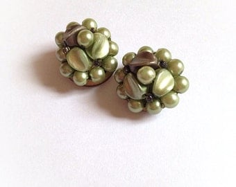 Vintage Pearlescent Green Plastic Earrings Clip On Hong Kong