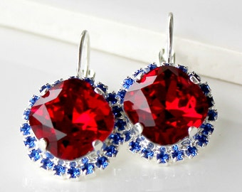 Red Swarovski Crystals framed with Sapphire Blue Halo Crystals on Silver Leverback Earrings/Halo Crystal Earrings
