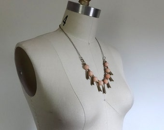 Mid-length, Multi-Strand, Bib-Style Fringe Necklace in Bronze and Peach / Metal Chain Necklace / Peach Quartz and Antique Bronze / Lisette
