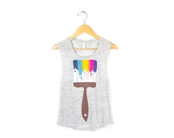 Paint Brush Tank - Relaxed Fit Scoop Neck Muscle Tee in Heather Grey Marl & Neon Rainbow - Women's Size S-2XL