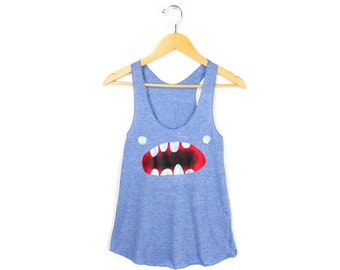 Om Nom Tank - Racerback Scoop Neck Swing Tank Top in Heather Blue and White - Women's XS S M L