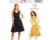 Womens Dress Pattern Butterick 5176 Mock Wrap Flared Dress Midriff Tie Ends Suzi Chin Maggie Womens Sewing Pattern Size 16 to 22 UNCUT